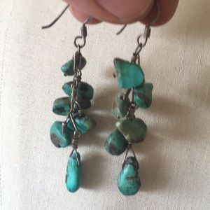 Jewelry - Turquoise bead silver wire cluster earrings